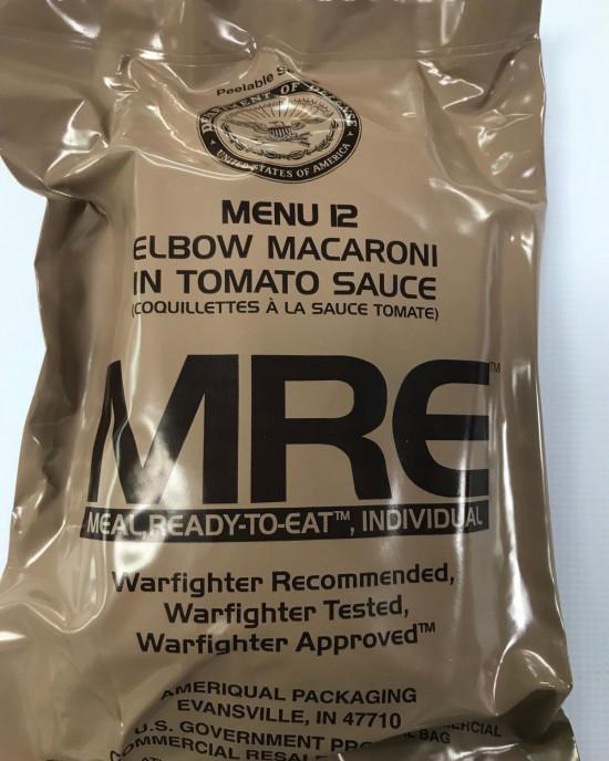 Ameriqual - MRE - Meal Ready to Eat - 2020 - Meniu 12 - Elbow Macaroni in Tomato Sauce